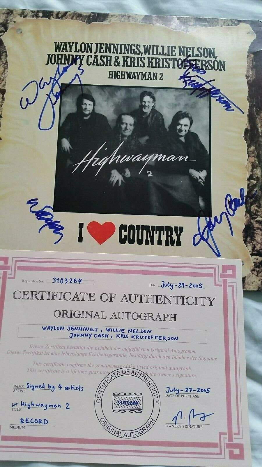 HIGHWAYMAN 2 LP - CASH, KRISTOFFERSON, NELSON, JENNINGS - SIGNED BY ALL 4