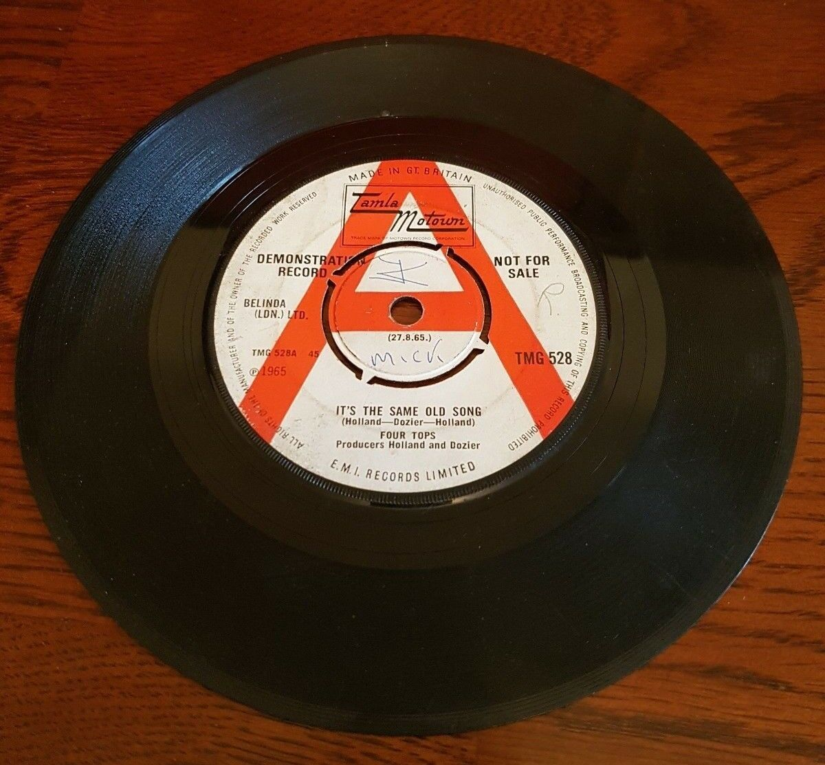 Four Tops It's The Same Old Song Tamla Motown Demo TMG 528 demonstration disc