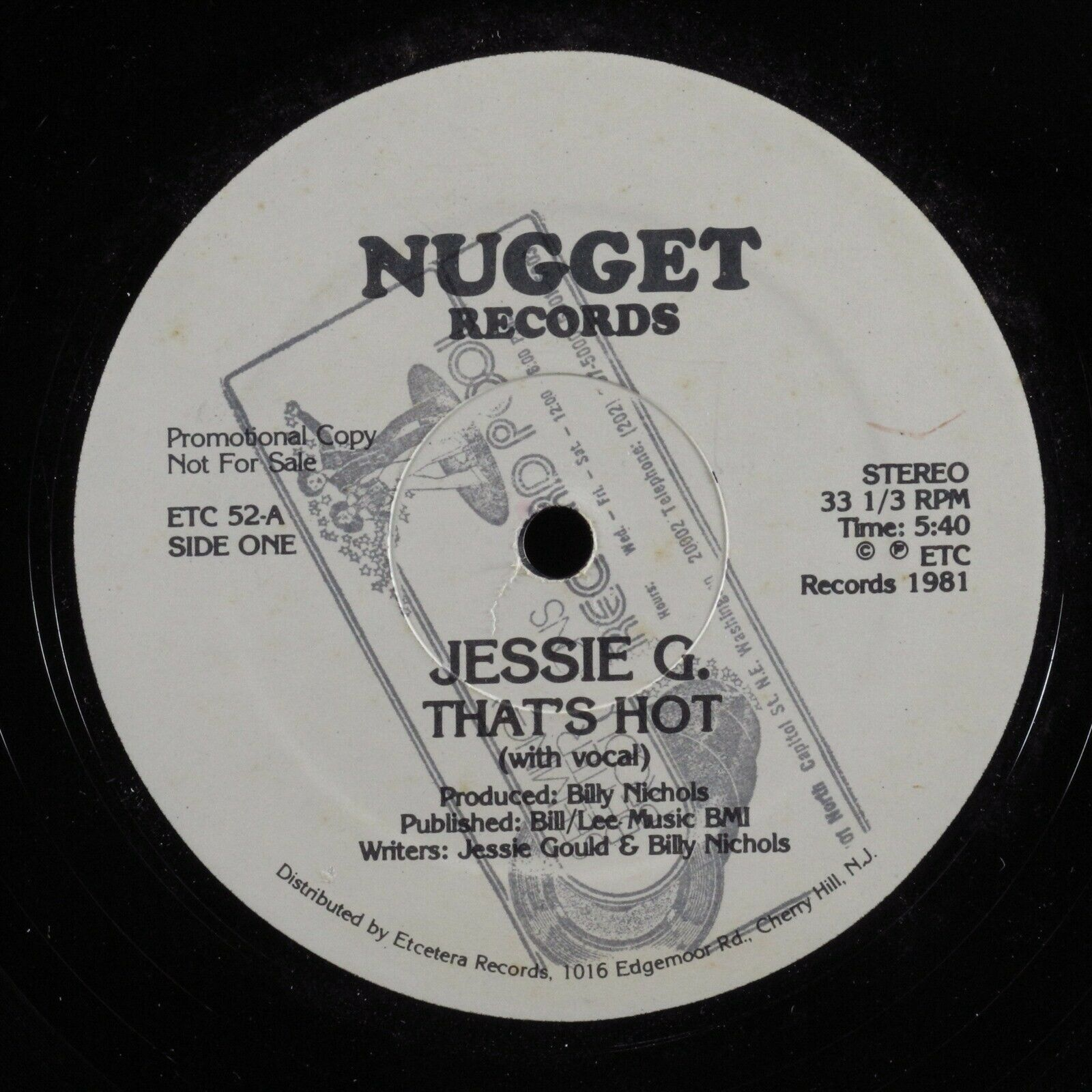 "JESSIE G. That's Hot NUGGET 12"" VG+ promo HEAR"