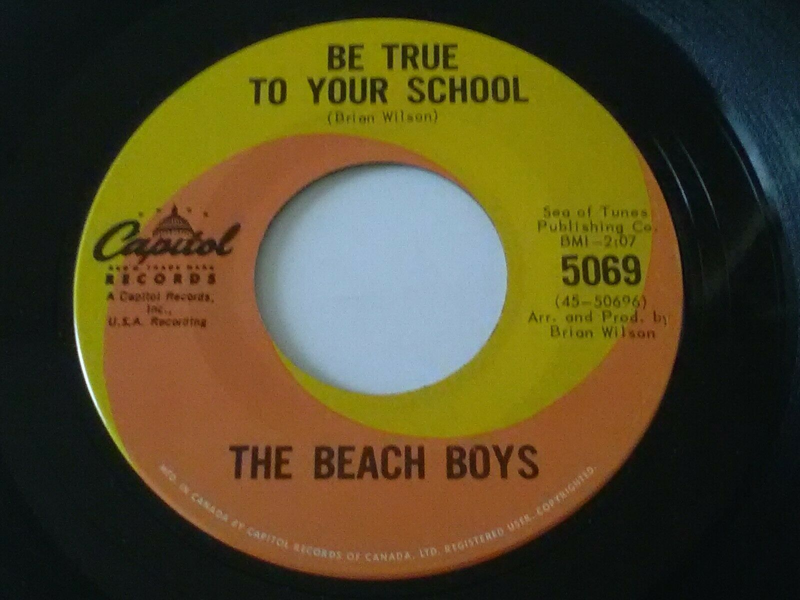Beach Boys Be True To Your School b/w In My Room orig 45 CANADA MINT CONDITION