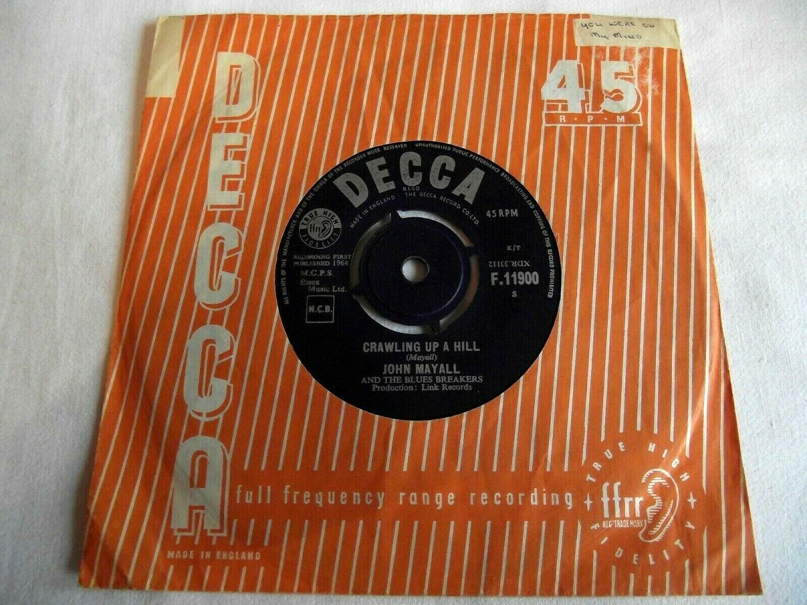 JOHN MAYALL AND THE BLUES BREAKERS   CRAWLING UP A HILL ** 1964 DECCA 45
