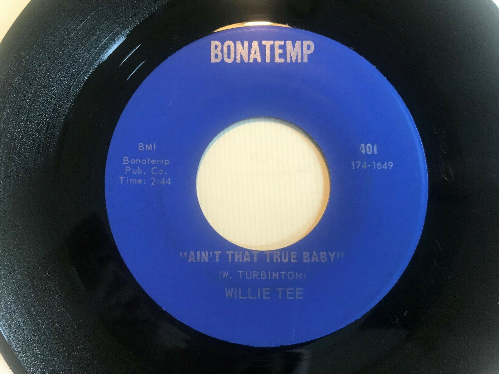 """WILLIE TEE You gonna pay some dues US 7"""" BONATEMP 401 HOLY GRAIL SOUL NM"""