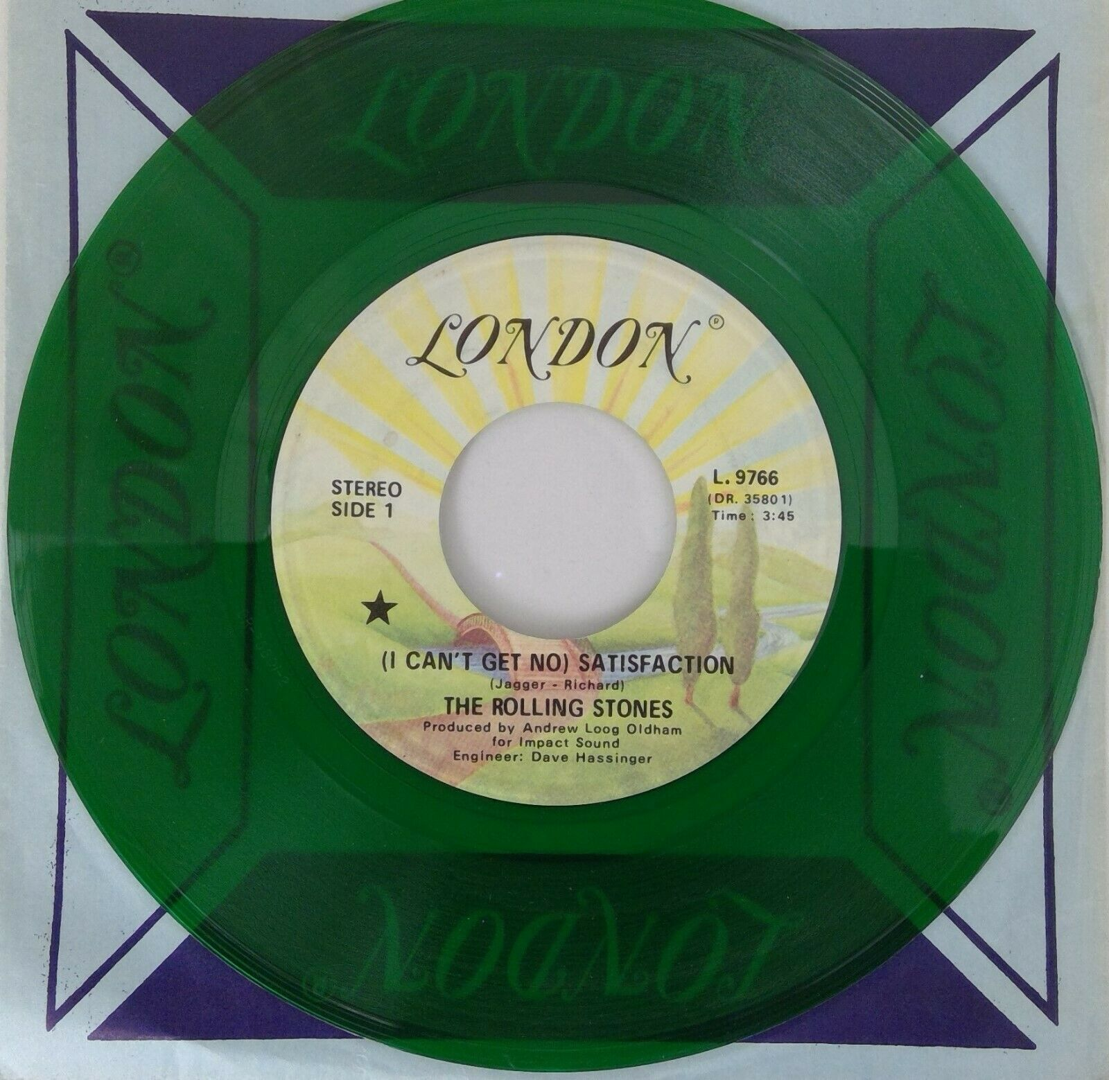"""THE ROLLING STONES 7"""" (I Can't Get No) Satisfaction GREEN TRANSLUCENT Canada"""