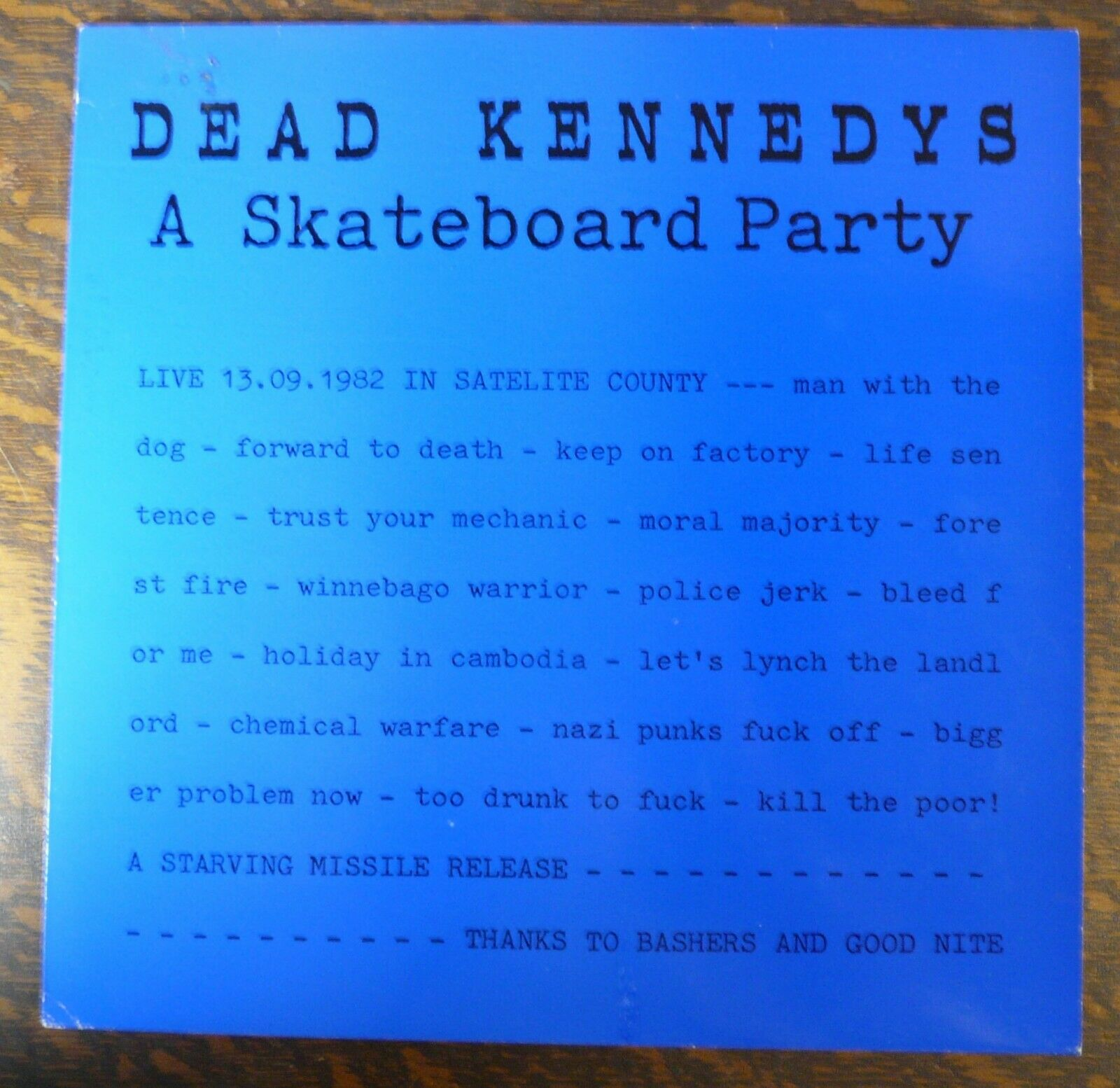 Dead Kennedys A Skateboard Party Blue Cover Vinyl LP Hardcore Punk Jello Biafra