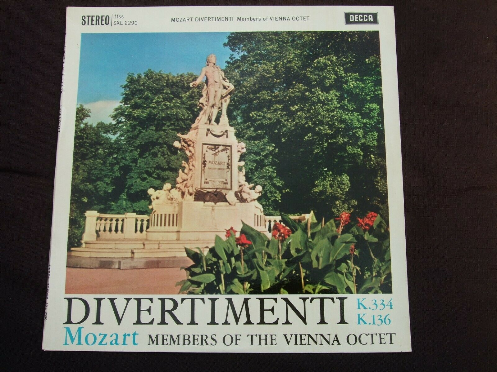 SXL 2290  WBG ED1 MOZART DIVERTIMENTI  MEMBERS OF VIENNA OCTET 1961 NM/NEAR MINT