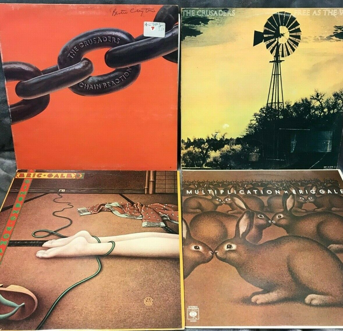 Jazz Rock 4 x LPs Crusaders,S/T, Chain Reaction.Eric Gale, Multipication, Ginsen