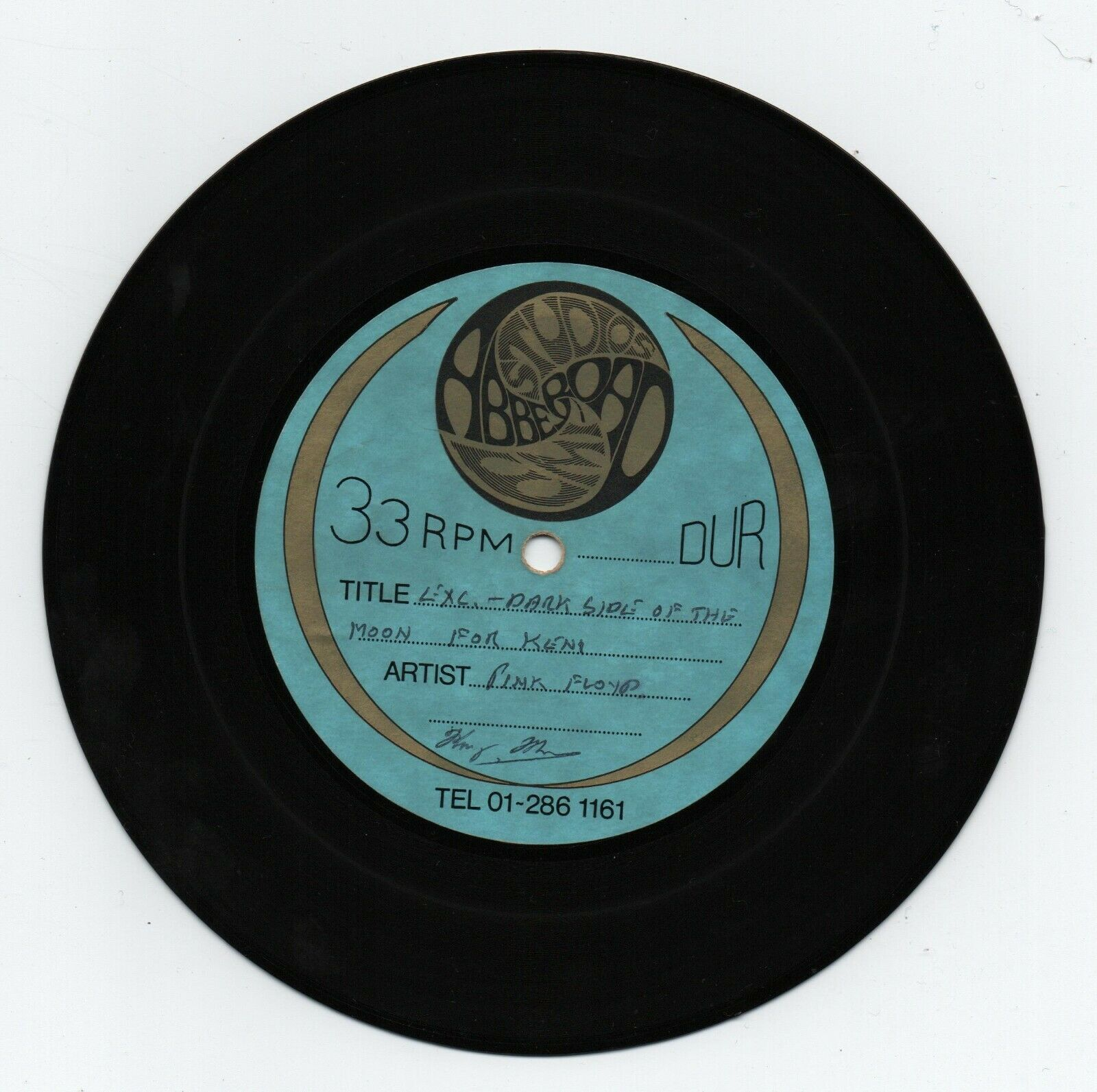 """PINK FLOYD. ON THE RUN. ONE SIDED ACETATE. ORIGINAL 7"""" 33.rpm. ABBEY ROAD. RARE"""