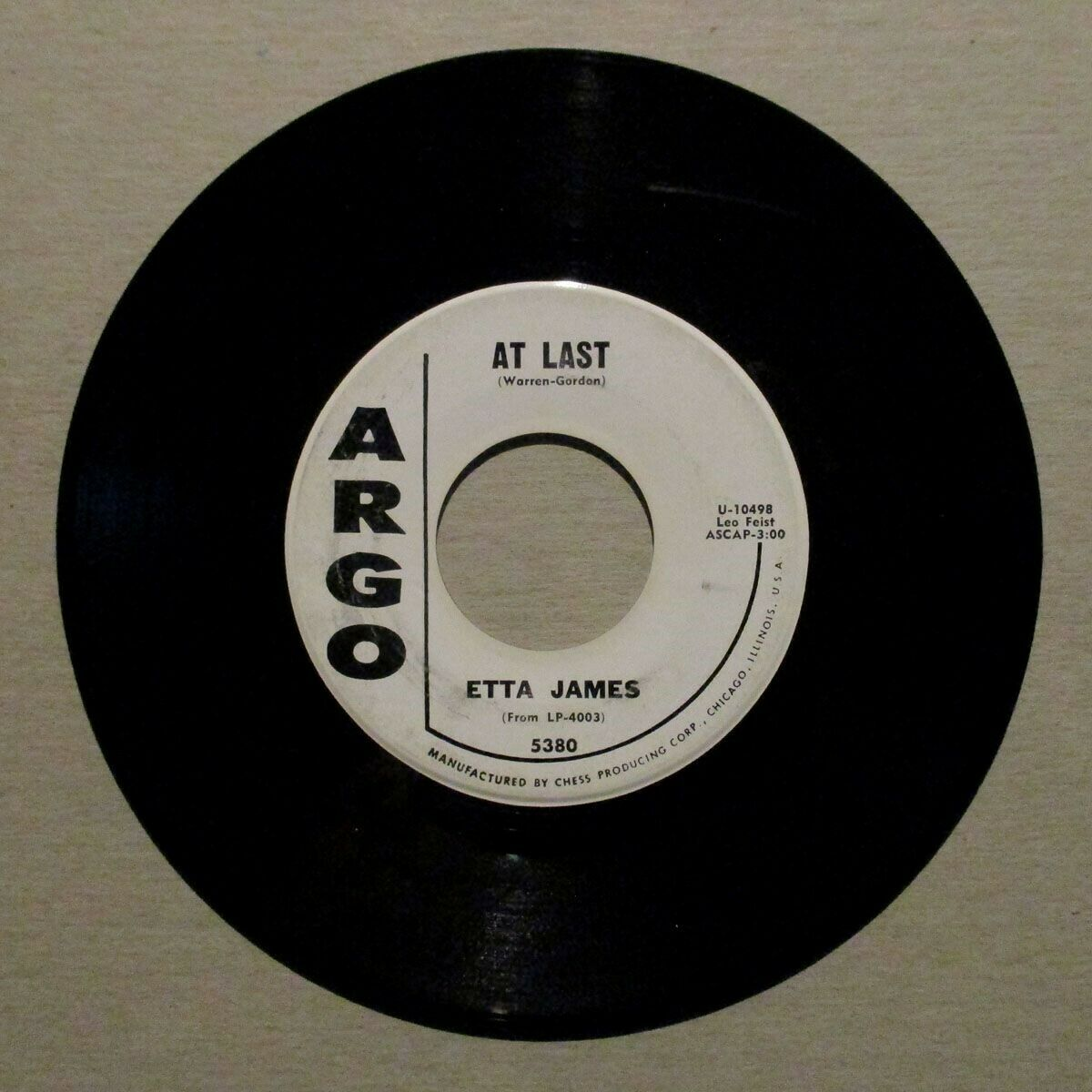 "ETTA JAMES Orig. 1960 ""At Last""  WHITE LABEL PROMO 45 on ARGO 5380"