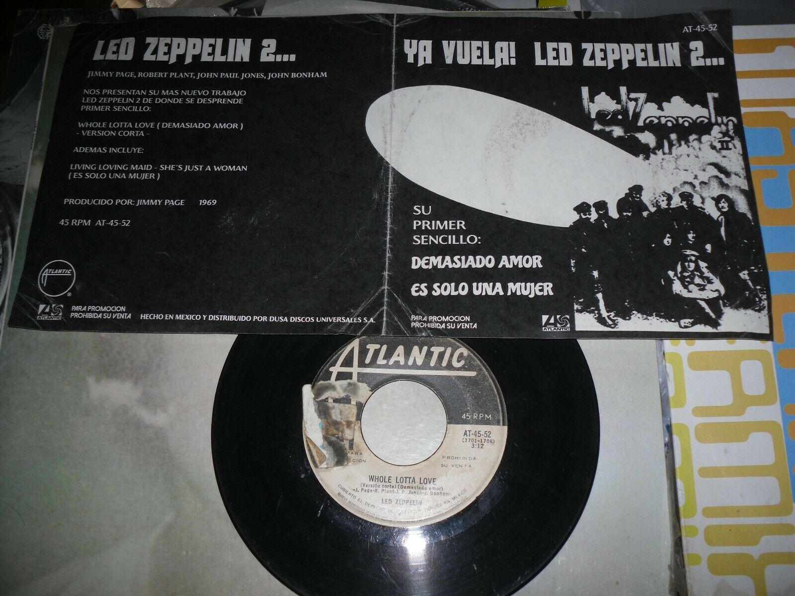 """LED ZEPPELIN - 1969 promo MEXICAN 7"""" - unique, FREE SHIPP, jimmy page, yardbirds"""