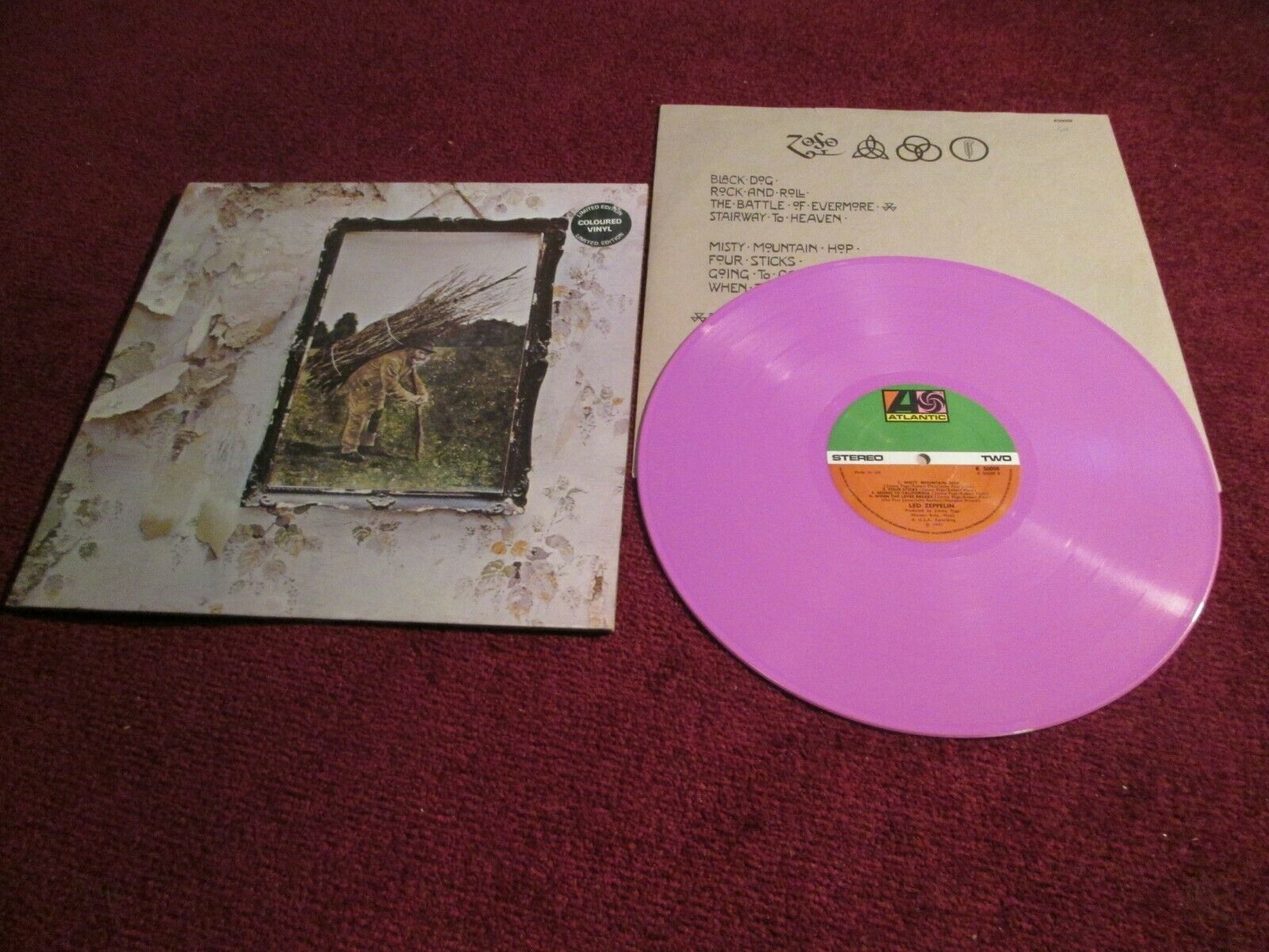 LED ZEPPELIN iv 4 ZOSO LILAC PINK LIMITED EDITION VINYL 1978 SUPERB CONDITION