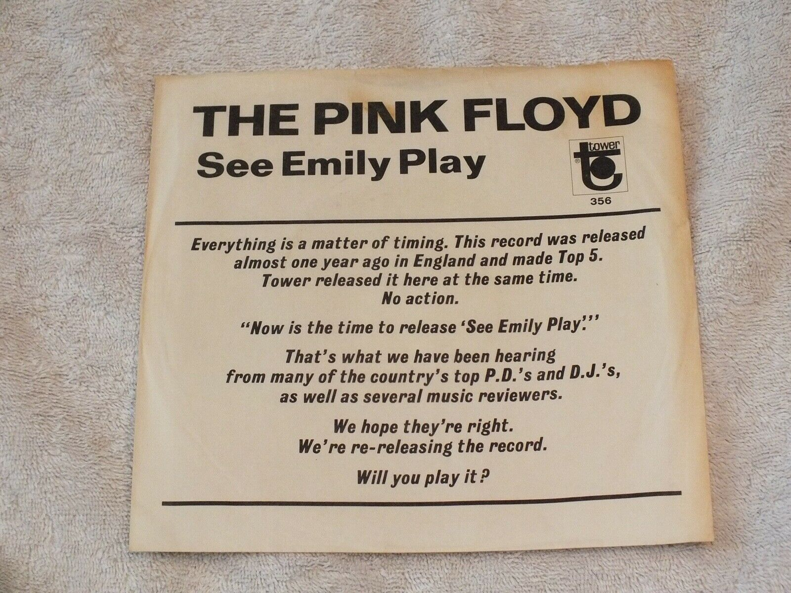 Pink Floyd - See Emily Play - U.S. second issue Promo - Excellent - Listen
