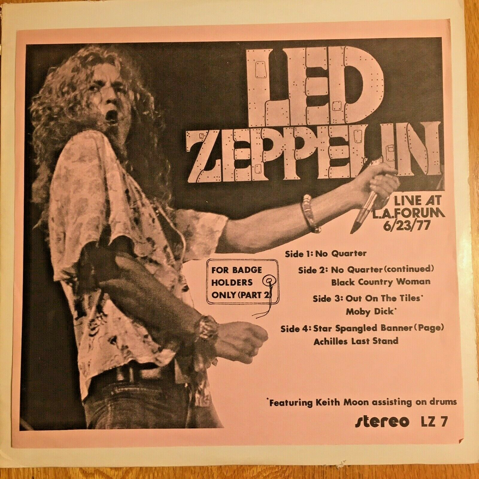LED ZEPPELIN For Badge Holders Only LIVE LA Forum 77 2X LP Rare Vinyl KEITH MOON