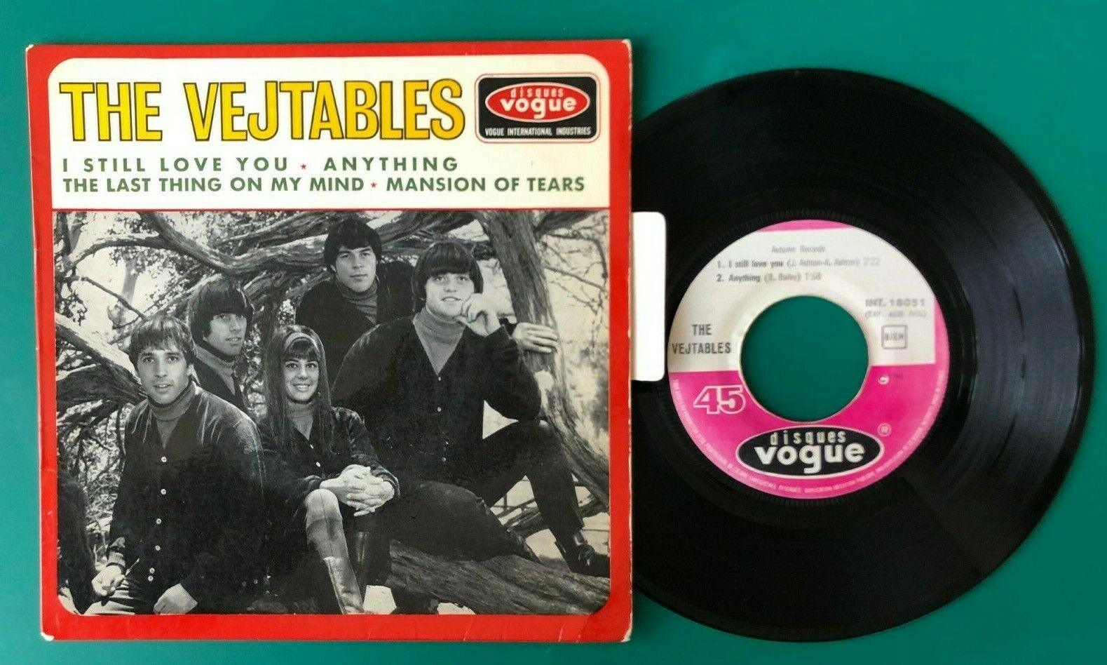 """THE VEJTABLES - FRENCH EP 45T 7"""" ORIGINAL VOGUE 18051 """" THE LAST THING """" 1965"""