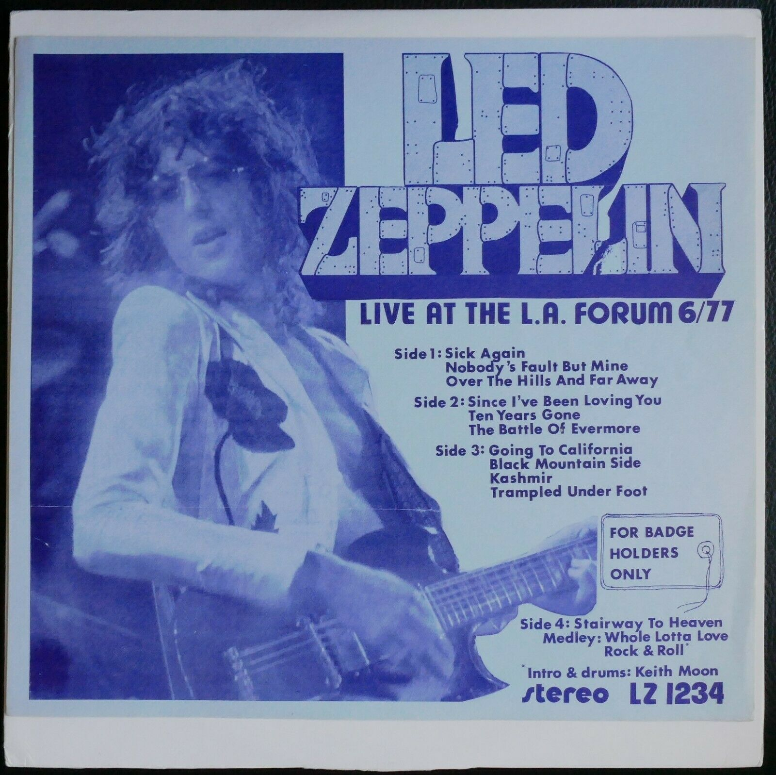 LED ZEPPELIN - FOR BADGE HOLDERS ONLY RARE 2LP LIVE 1977 no TMOQ the Who