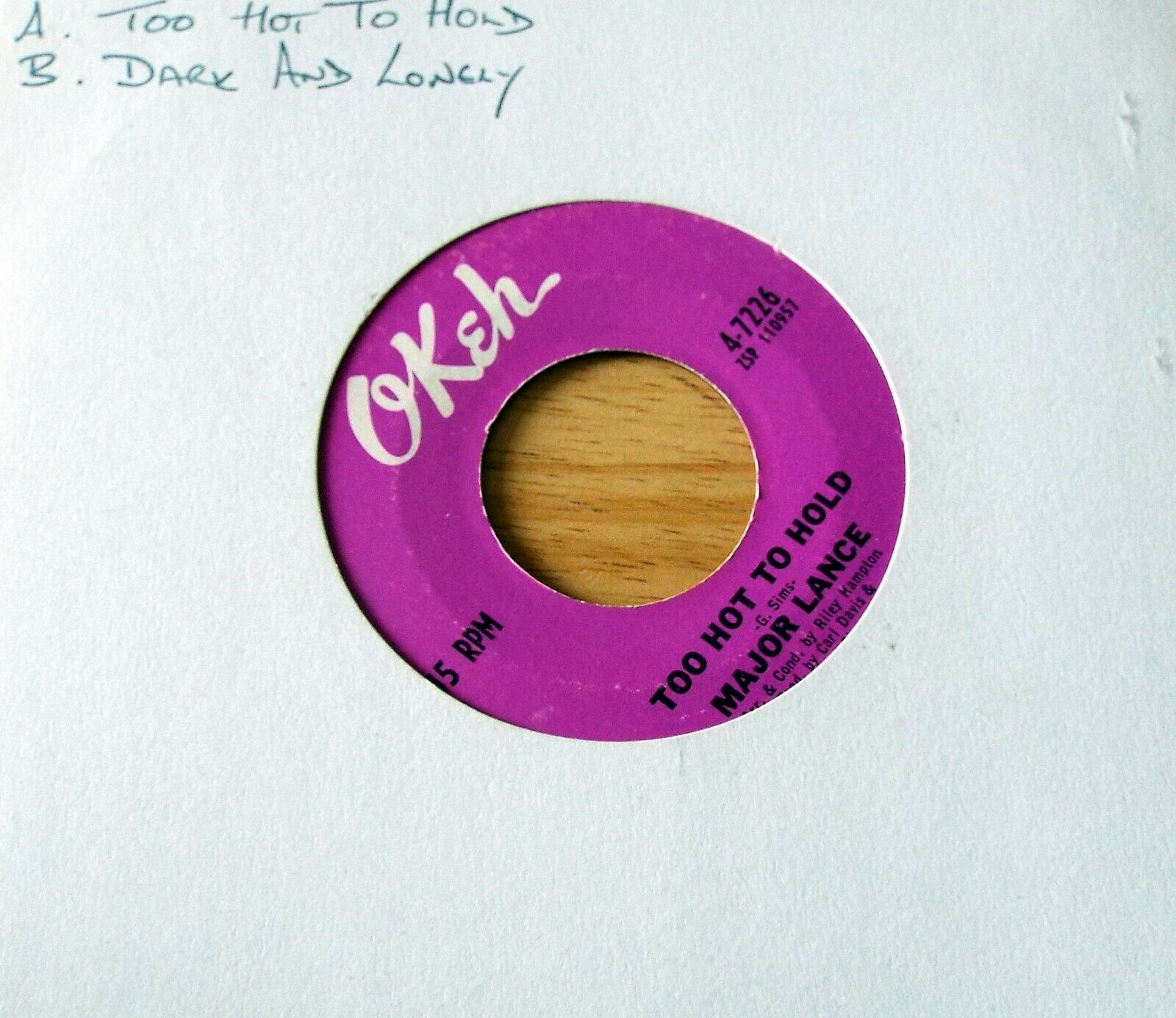 MAJOR LANCE Too Hot To Hold / Dark And Lonely OKEH 4-7226