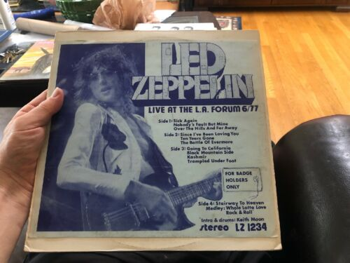 LED ZEPPELIN LIVE AT THE LA FORUM 6/77 FOR BADGE HOLDERS ONLY 2 LPs NM LZ 1234
