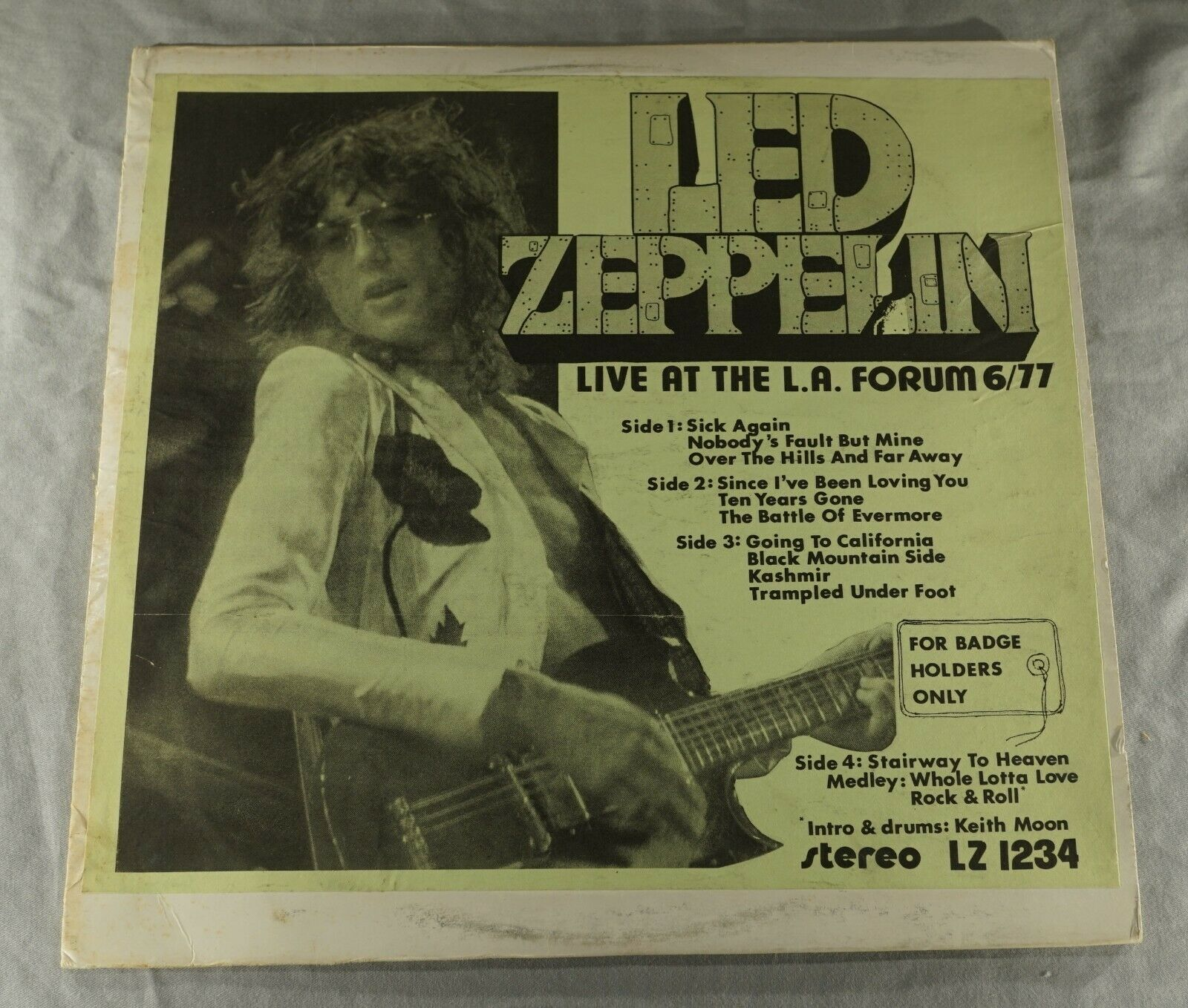 ORIGINAL LED ZEPPELIN LIVE FORUM 1977 FOR BADGE HOLDERS ONLY 33 1/3 RPM RECORD