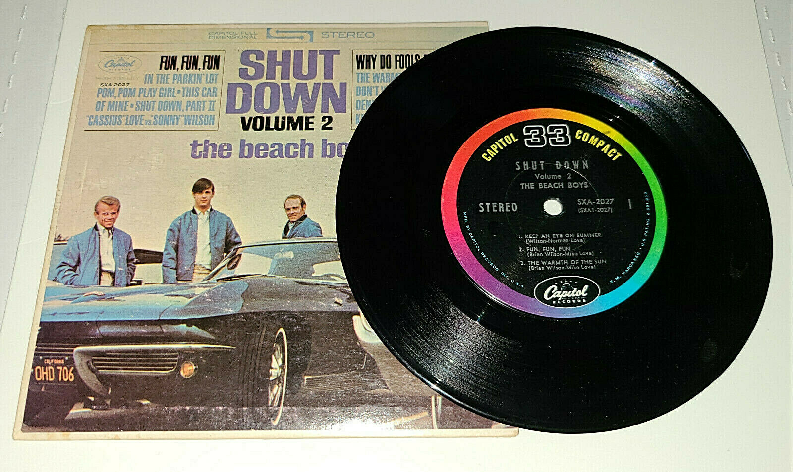"NM BEACH BOYS  'SHUT DOWN' CAPITOL COMPACT 33 SXA-2027 JUKEBOX 7"" EP"