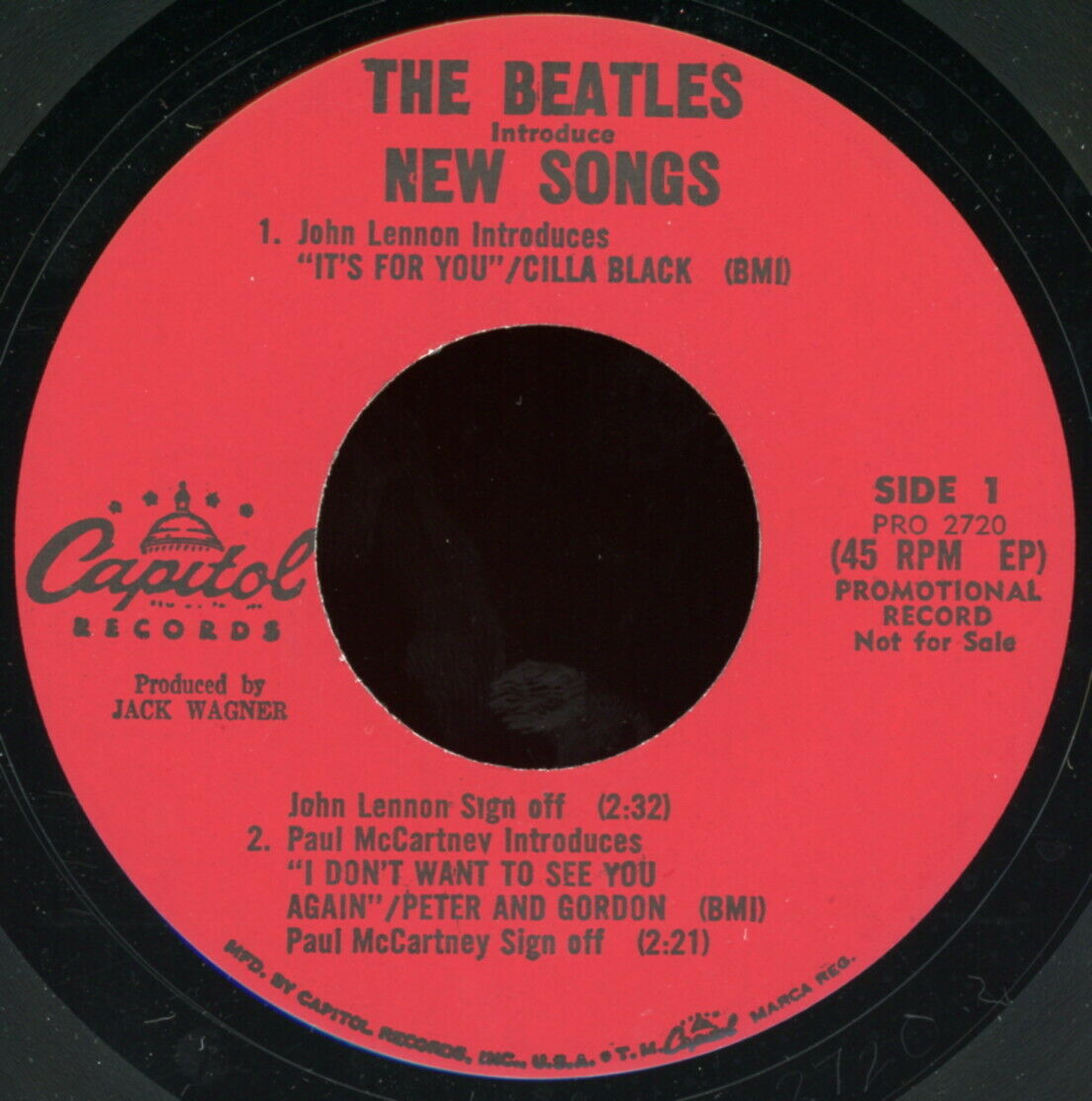 THE BEATLES INTRODUCE NEW SONGS 45 Promotional Capitol Records PRO 2720