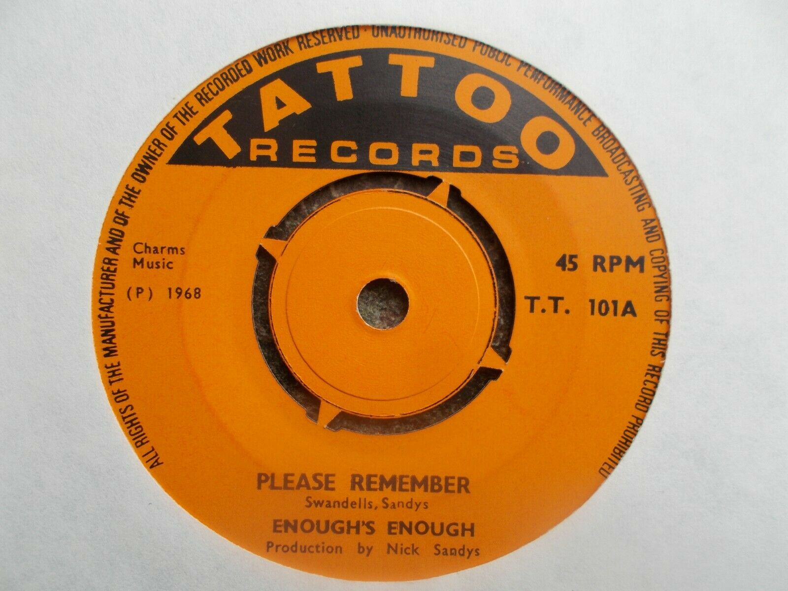 "M- UK TATTOO 45 - ENOUGH'S ENOUGH - ""PLEASE REMEMBER"" / ""LOOK AROUND YOU BABY"""