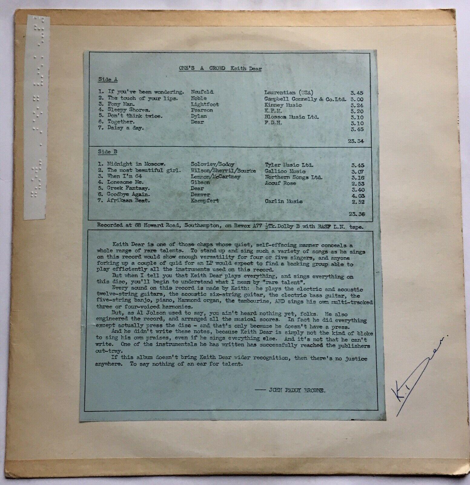 "Keith Dear""One's A Crowd""Rare Folk,Psych Rock,Deroy Records,Ex Glossy Copy,1974,"