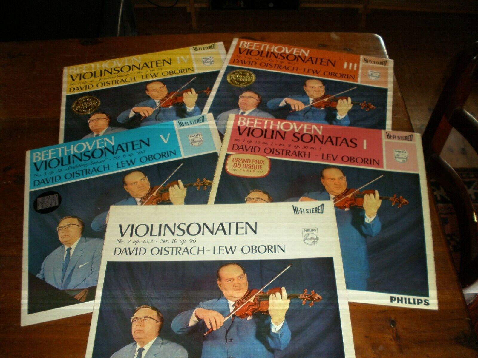 Beethoven Violin Sonatas Oistrakh Oborin/5 LP Philips Hi-Fi stereo 855150/154 1E