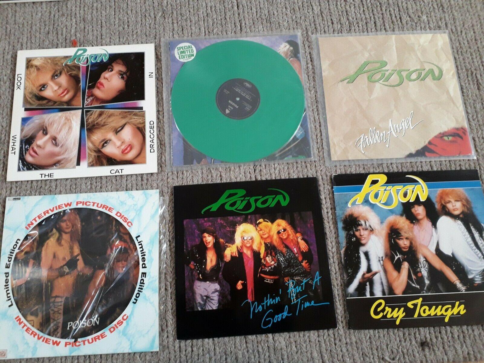 6x Poison Vinyls, Look What, Fallen Angel, Cry Tough etc.