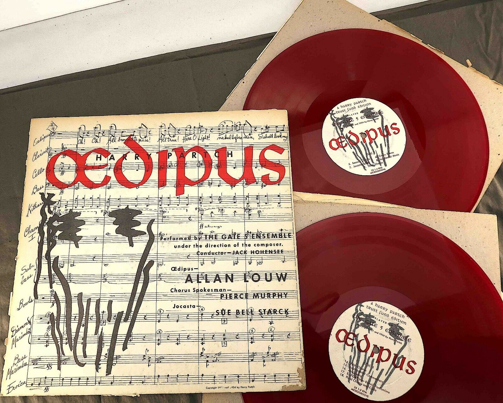 1954-Signed/Numbered First Edition Harry Partch OEDIPUS  33 rpm Red Vinyl Album