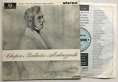 MALCUZYNSKI CHOPIN The Four Ballades COLUMBIA SAX 2509 B/S EX/VG+