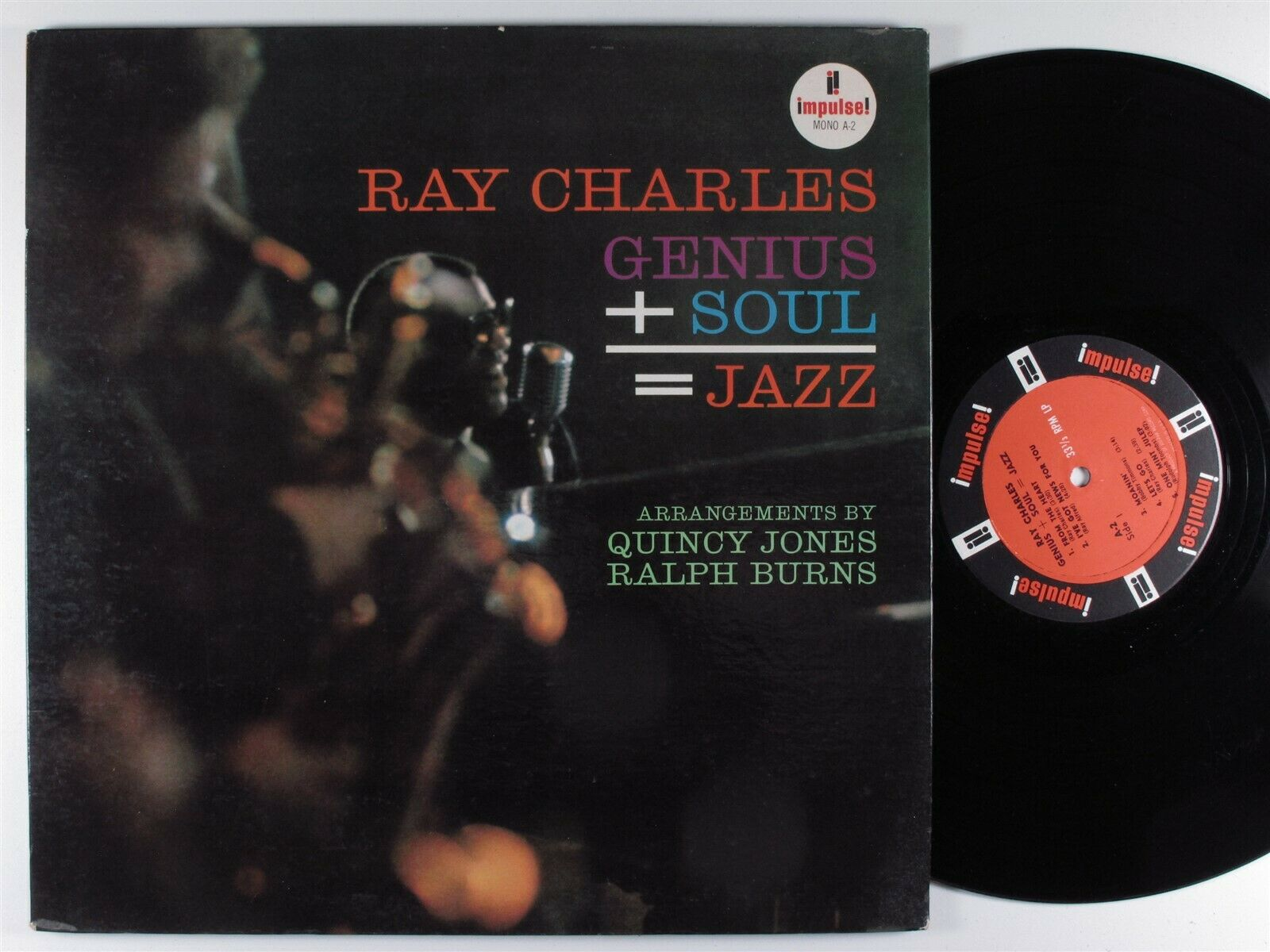 RAY CHARLES Genius + Soul = Jazz IMPULSE LP mono gatefold **