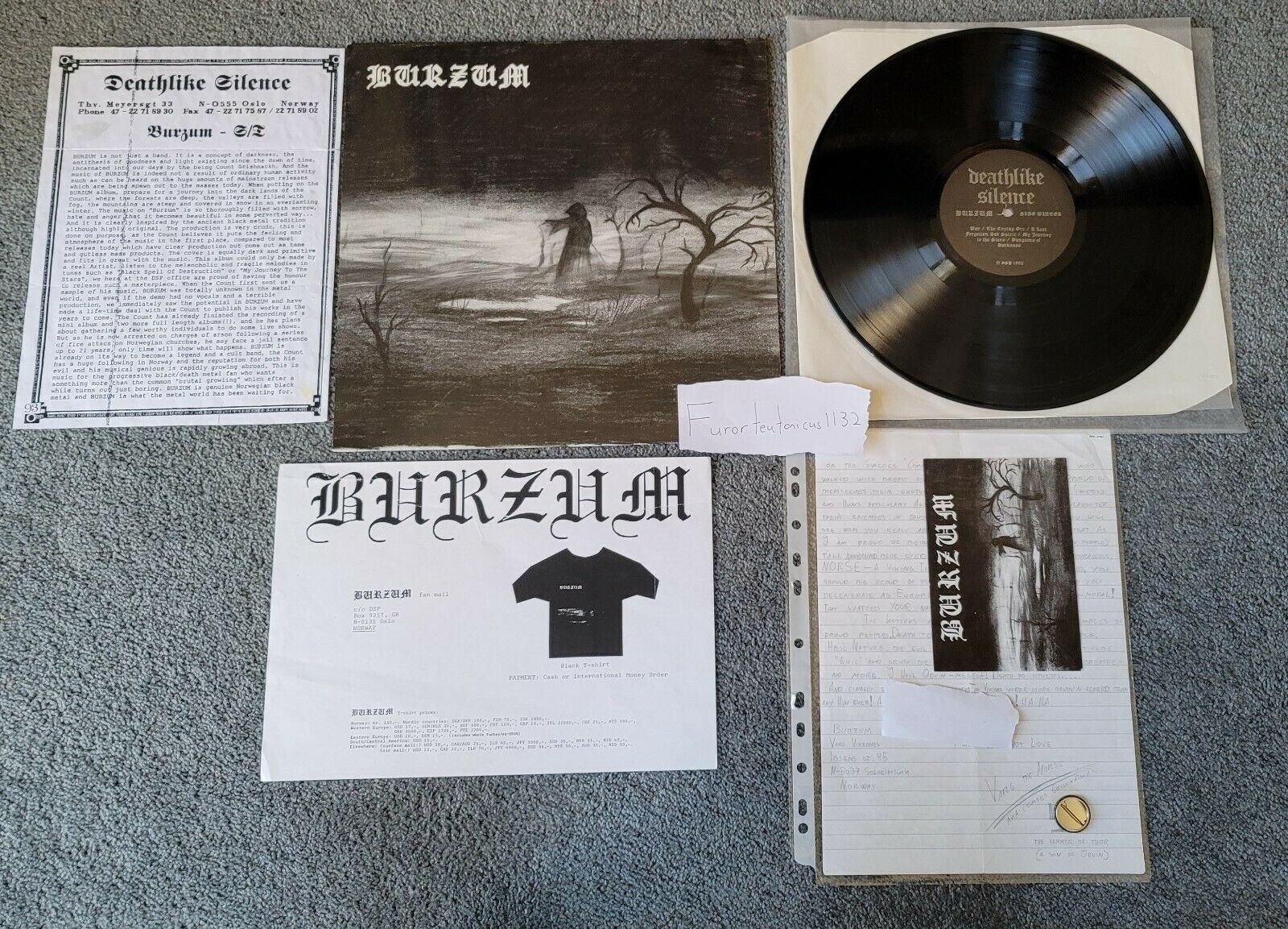 1Burzum self titled first press vinyl LP Varg Vikernes letter Darkthrone Mayhem