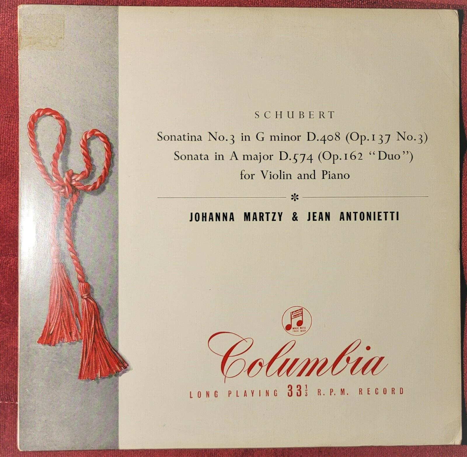 JOHANNA MARTZY' SCHUBERT. SONATAS FOR VIOLIN AND PIANO. NO.3 , DUO' 1ST .SUPERB