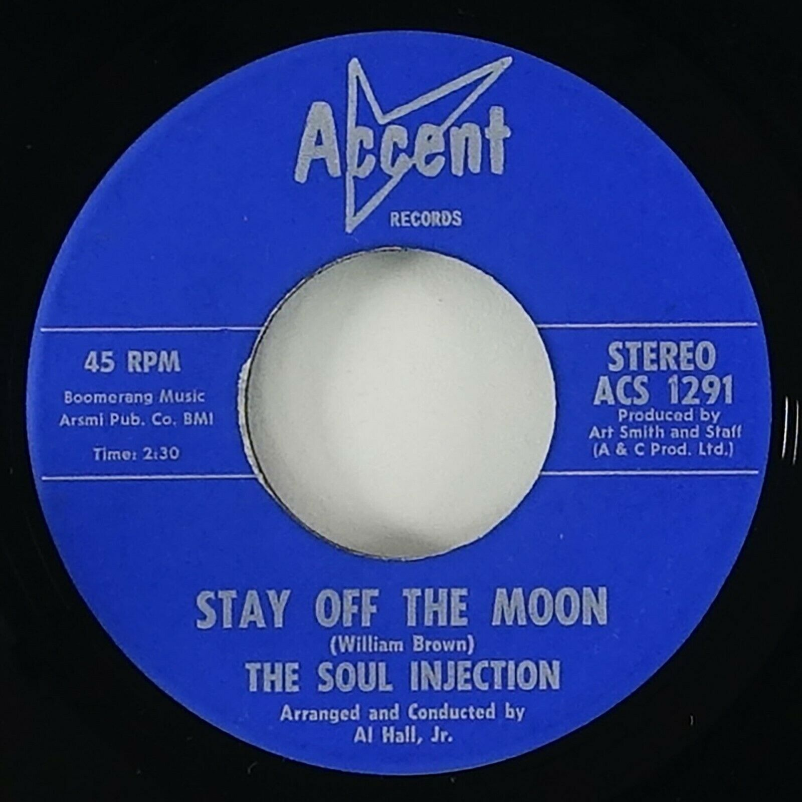 """Soul Injection """"Stay Off The Moon"""" Rare Crossover Soul Funk 45 Accent HEAR"""