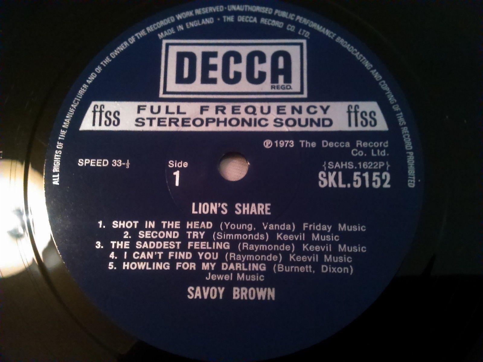 SAVOY BROWN - LION'S SHARE LP ( NO COVER ) RARE UK 1ST PRESS DECCA SKL.5152  1W