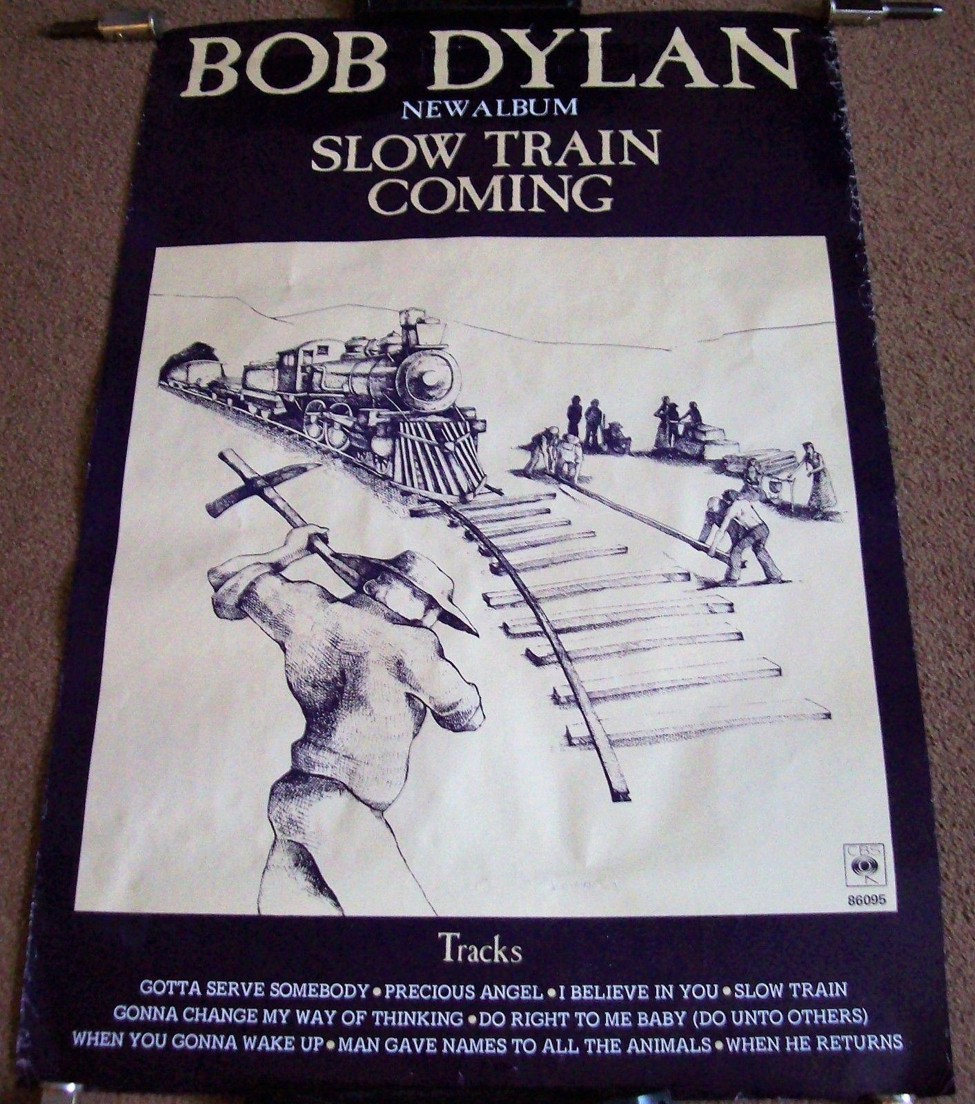 "BOB DYLAN STUNNING RARE U.K. PROMO POSTER FOR THE ALBUM ""SLOW TRAIN COMING"" 1979"