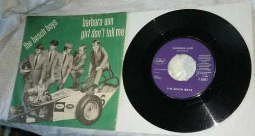 1966 Import The Beach Boys BARBARA ANN 45rpm +Drag Race Picture Sleeve F-5561 VG