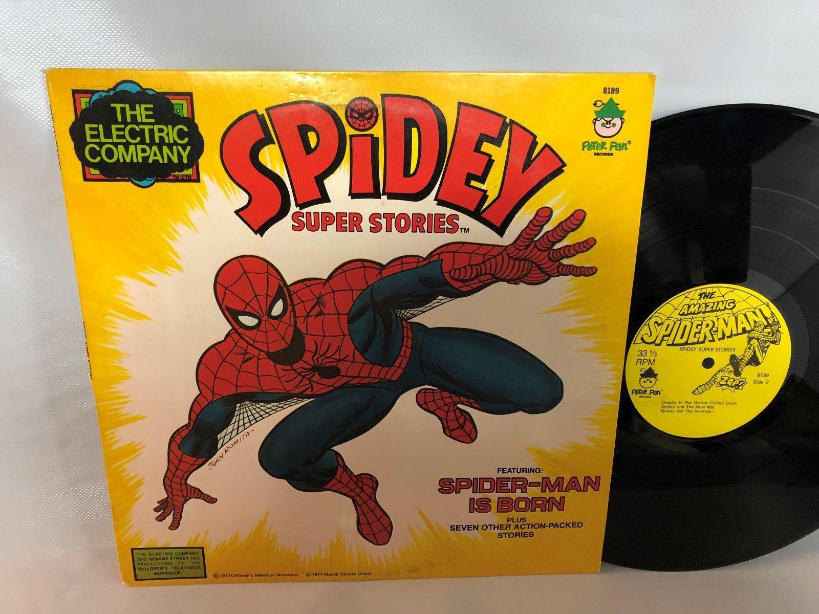 Vintage 1977 The Amazing SpiderMan Record LP Super Stories VG+ Condition Rare