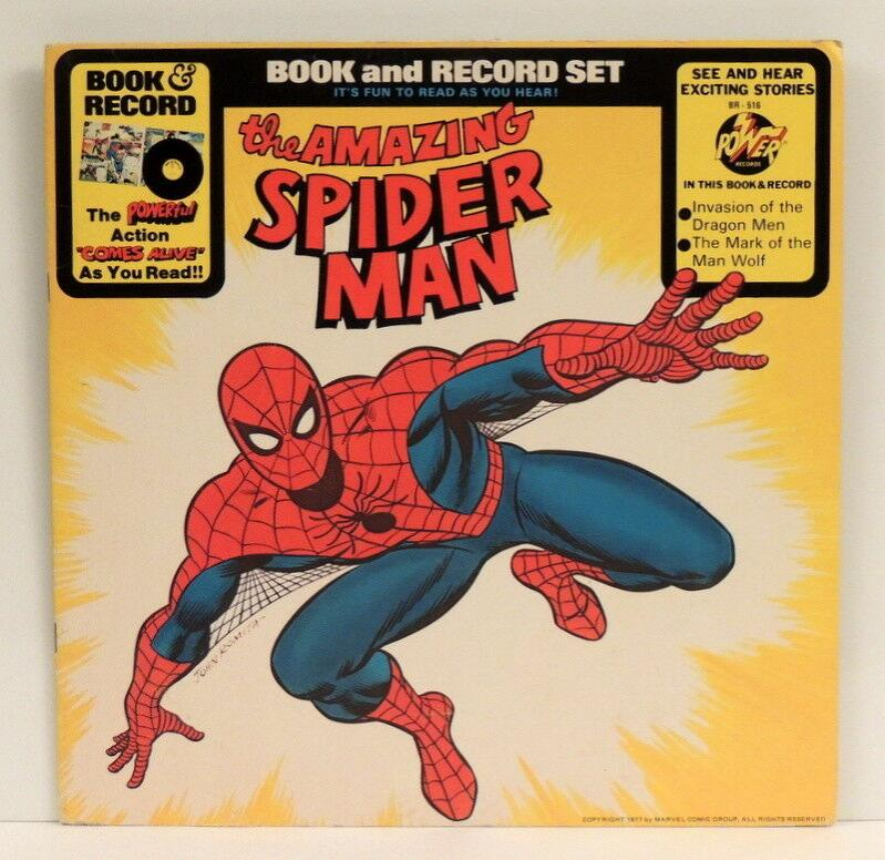 The Amazing Spiderman - Book & Record Set LP 1977 Power BR-516 *16-pg booklet EX