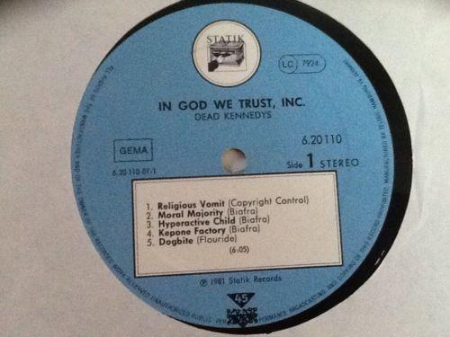 Dead Kennedys in God We Trust Rare German Copy (Blue Labels )