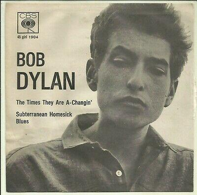 "BOB DYLAN THE TIMES THEY ARE A-CHANGIN' ITALY 1965 PROMO CBS 7"" beat EX+ COPY"