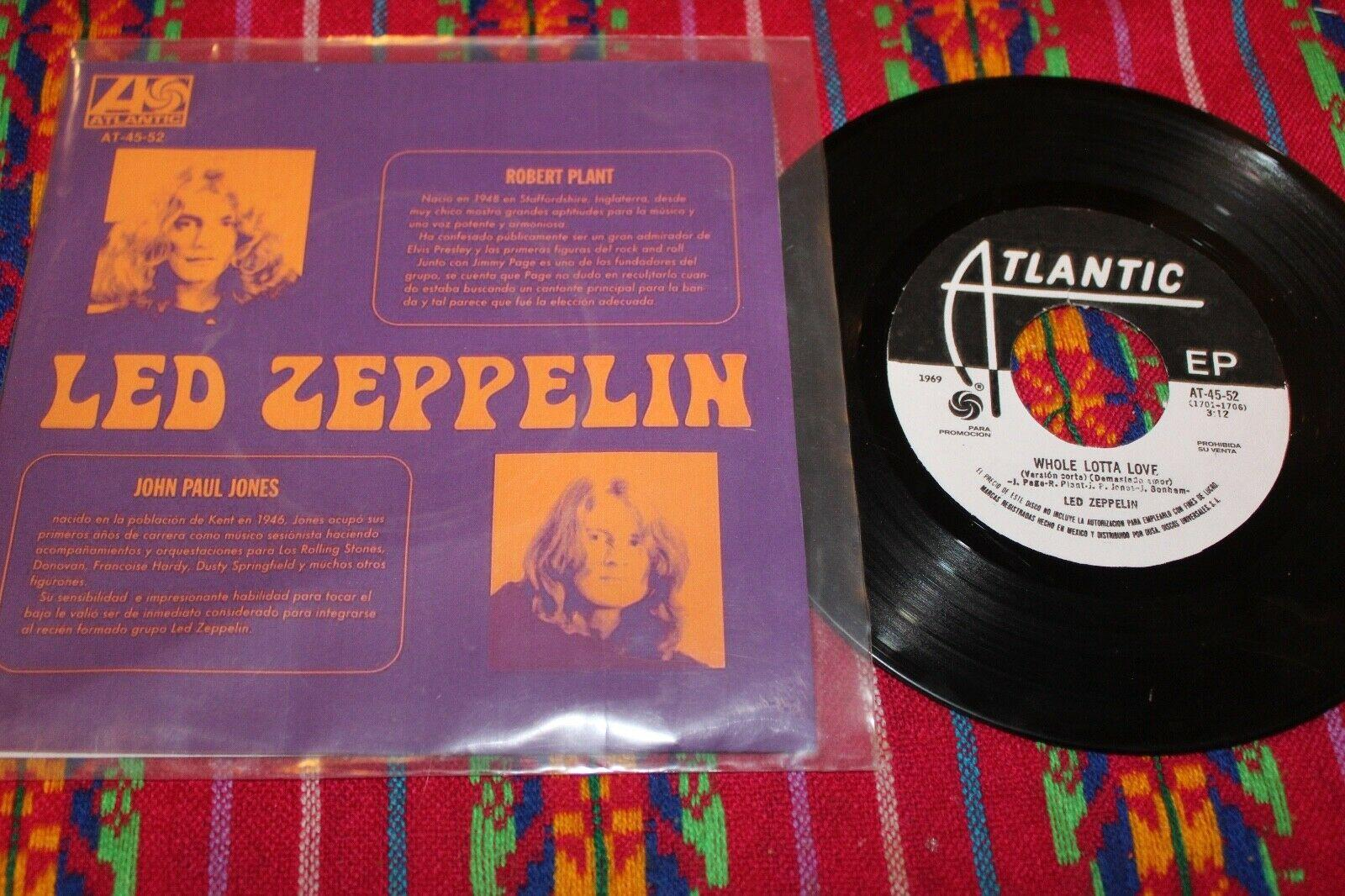 "LED ZEPPELIN Demasiado Amor - Whole Lotta Love 1969 MEXICO 7"" RADIO PROMO 45"